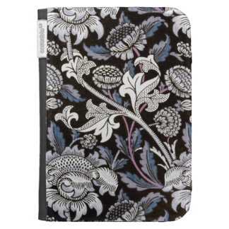 William Morris fabric pattern in black and blue Kindle Keyboard Cases