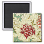 William Morris Fine Red Floral Wallpaper Square Magnet