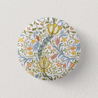 William Morris Flora Vintage Floral Art Nouveau 3 Cm Round Badge