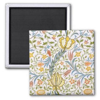 William Morris Flora Vintage Floral Art Nouveau Square Magnet