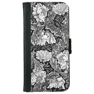 William Morris Floral, Black, White & Gray / Grey iPhone 6 Wallet Case