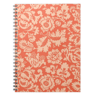 William Morris Floral Damask, Peach and Coral Notebook