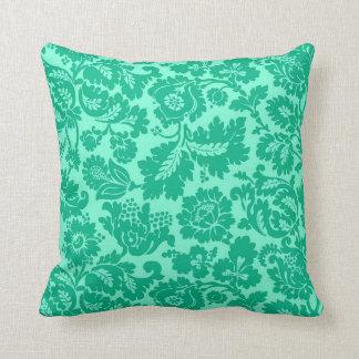 William Morris Floral Damask, Turquoise and Aqua Cushion