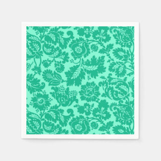 William Morris Floral Damask, Turquoise and Aqua Disposable Napkin