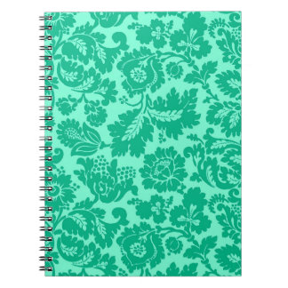 William Morris Floral Damask, Turquoise and Aqua Notebook