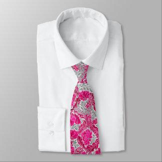 William Morris Floral, Fuchsia Pink & Gray / Grey Tie