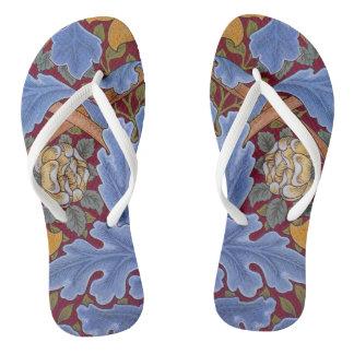William Morris Floral Wallpaper Pattern Flip Flops
