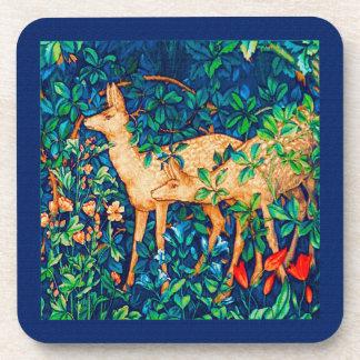 William Morris Forest Deer Tapestry Print Coaster