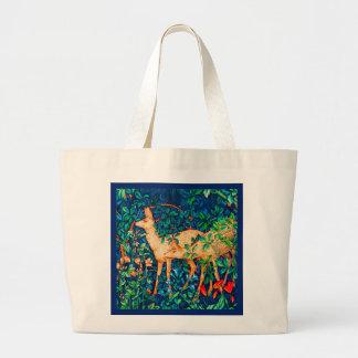William Morris Forest Deer Tapestry Print Large Tote Bag