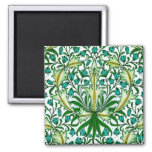 William Morris Gold Aqua Floral Wallpaper Square Magnet