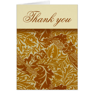 William Morris Gold Leaves Thank You Note Cards