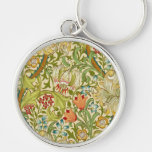 William Morris Golden Lily Vintage Pre-Raphaelite Silver-Colored Round Key Ring