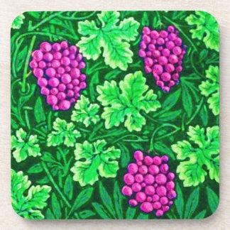 William Morris Grapevine, Magenta and Green Beverage Coasters