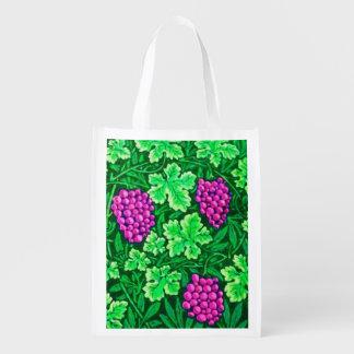 William Morris Grapevine, Magenta and Green Reusable Grocery Bag