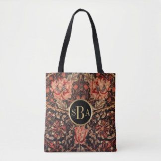 William Morris Honeysuckle Floral Pattern Tote Bag