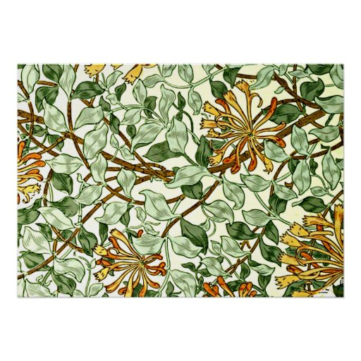 William Morris - Honeysuckle in Green and Gold Posters
