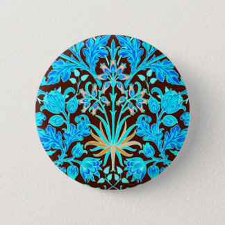 William Morris Hyacinth Print, Aqua and Brown 6 Cm Round Badge