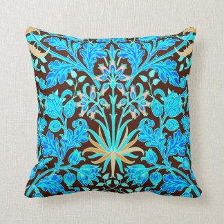 William Morris Hyacinth Print, Aqua and Brown Cushion