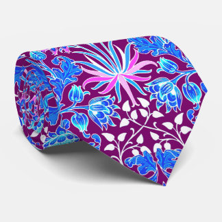 William Morris Hyacinth Print, Aqua and Purple Tie