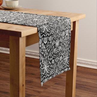 William Morris Hyacinth Print, Black and White Short Table Runner