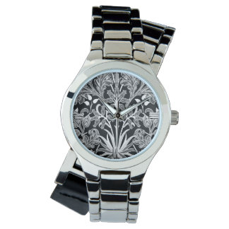 William Morris Hyacinth Print, Black and White Watch