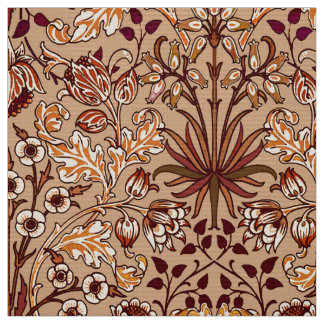 William Morris Hyacinth Print, Brown and Beige Fabric