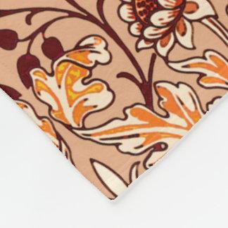 William Morris Hyacinth Print, Brown and Beige Fleece Blanket