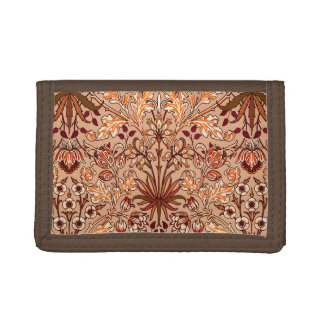 William Morris Hyacinth Print, Brown and Beige Trifold Wallet