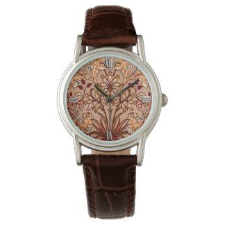 William Morris Hyacinth Print, Brown and Beige Wristwatch