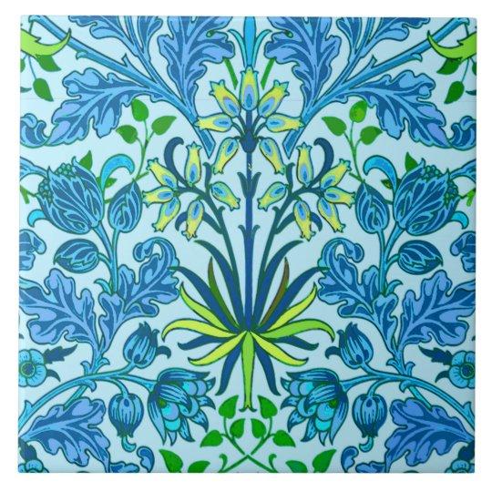 William Morris Hyacinth Print, Cerulean Blue Large Square