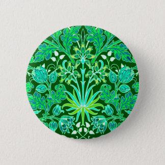 William Morris Hyacinth Print, Emerald Green 6 Cm Round Badge