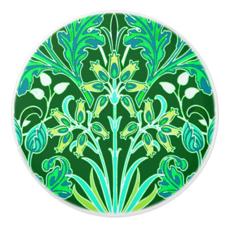 William Morris Hyacinth Print, Emerald Green Ceramic Knob