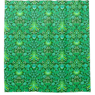 William Morris Hyacinth Print, Emerald Green Shower Curtain