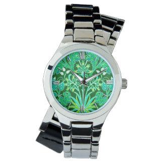 William Morris Hyacinth Print, Emerald Green Wrist Watch