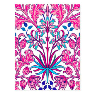 William Morris Hyacinth Print, Fuchsia Pink Postcard
