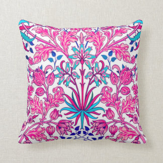 William Morris Hyacinth Print, Fuchsia Pink Throw Pillow
