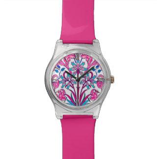 William Morris Hyacinth Print, Fuchsia Pink Wristwatches