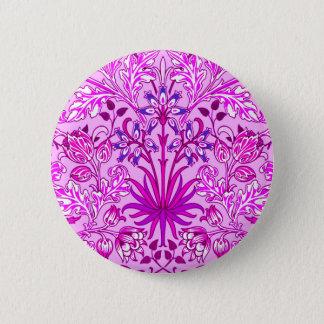 William Morris Hyacinth Print, Lavender and Violet 6 Cm Round Badge