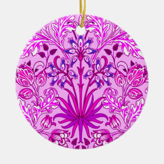 William Morris Hyacinth Print, Lavender and Violet Christmas Ornament