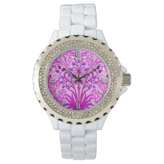 William Morris Hyacinth Print, Lavender and Violet Wrist Watches