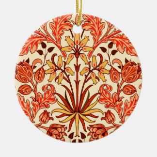 William Morris Hyacinth Print, Orange and Rust Christmas Ornament