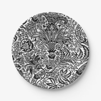 William Morris Indian, Black and White Paper Plate