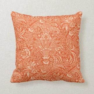 William Morris Indian, Coral Orange and Peach Cushion