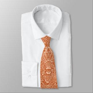 William Morris Indian, Coral Orange and Peach Tie