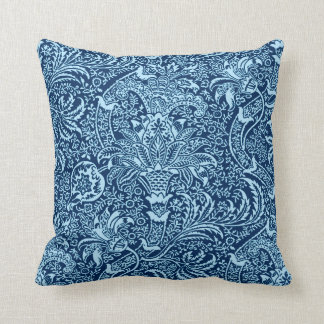 William Morris Indian, Dark Indigo and Sky Blue Cushion