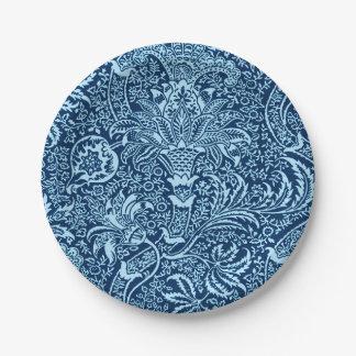 William Morris Indian, Dark Indigo and Sky Blue Paper Plate
