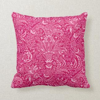 William Morris Indian, Deep Fuchsia Pink Throw Pillow