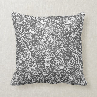 William Morris Indian, Graphite Gray and White Cushion