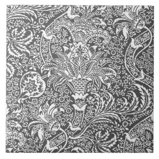 William Morris Indian, Graphite Gray and White Large Square Tile