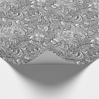 William Morris Indian, Graphite Gray and White Wrapping Paper